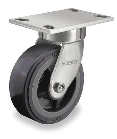Kingpinless Swivel Plate Caster, 1000 lb, Gray