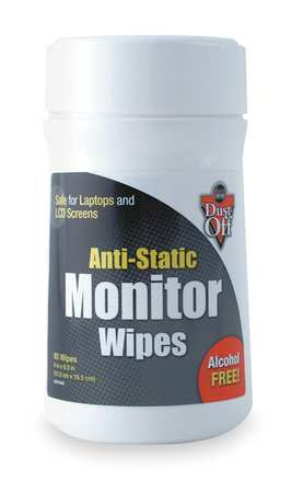 Monitor Wipes, Tub, 7Hx4W In