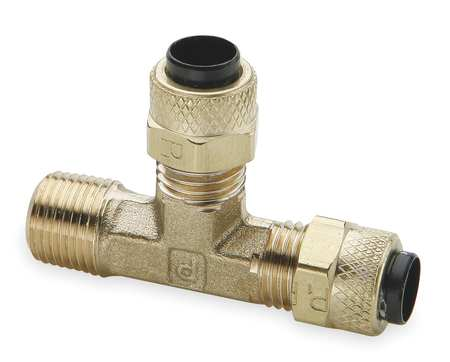 Run Tee, Brass, CompxM, 1/2Inx3/8In, PK10