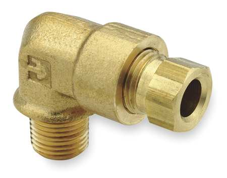 "1/4"" Compression x 1/8"" MNPT Brass 90 Degree Elbow 10PK"