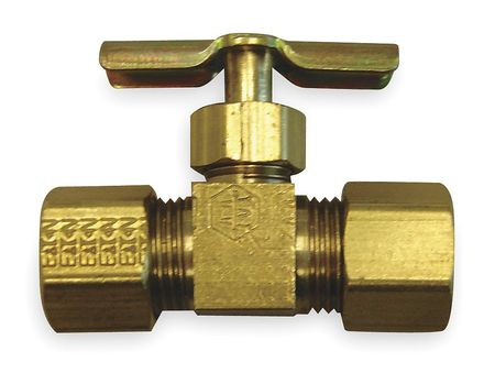 Needle Valve, Straight, Brass, 3/16 In, Tube