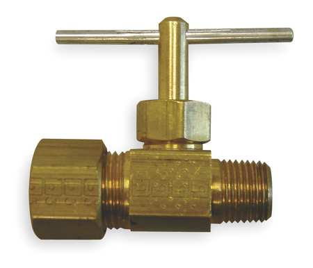 Needle Valve, Straight, Brass, 1/4 x 5/16In