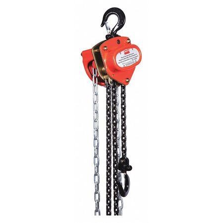 Manual Chain Hoist, 1000 lb., Lift 8 ft.
