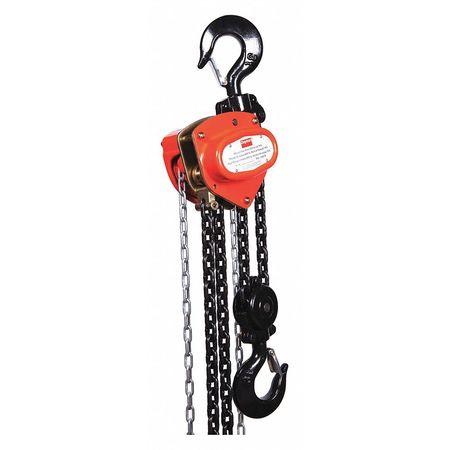 Manual Chain Hoist, 6000 lb., Lift 10 ft.