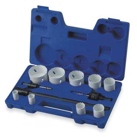 Hole Saw Kit, Bimetal, 3/4 To 2.5 In, 12 Pc