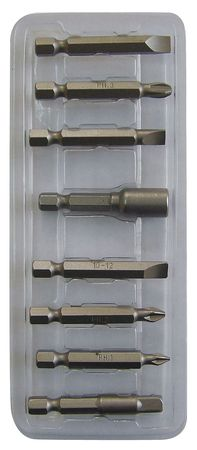 "Screwdriver Bit Set, 8 Pieces, 1/4"" Shank"