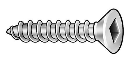 Metal Screw, Flat, #10, 2 1/2 L, PK50