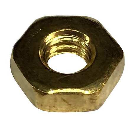 "1/4""-20 ASME B18.2.2 Plain Finish Brass Heavy Hex Nuts,  100 pk."