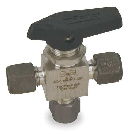 "3/8"" Compr Stainless Steel Mini Ball Valve 3-Way"