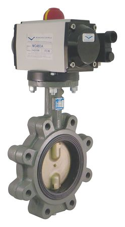 Butterfly Valve, Spring Return, Iron, 6 In.