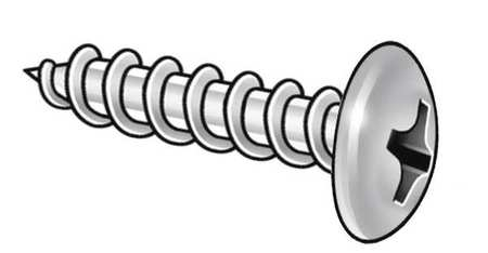 Metal Screw, Truss, #10, 1/2 L, PK100