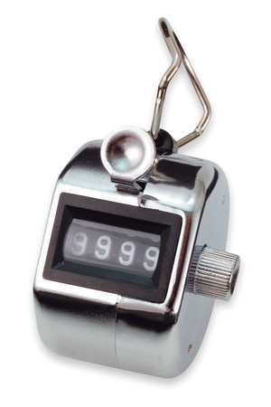 Hand Tally Counter, 2Hx2W In, Silver