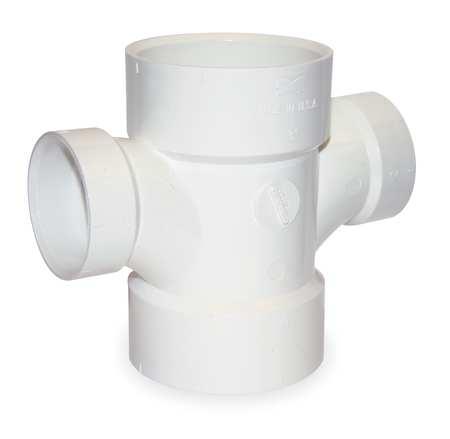 "3"" x 3"" x 1-1/2"" x 1-1/2"" Hub PVC DWV Sanitary Tee"
