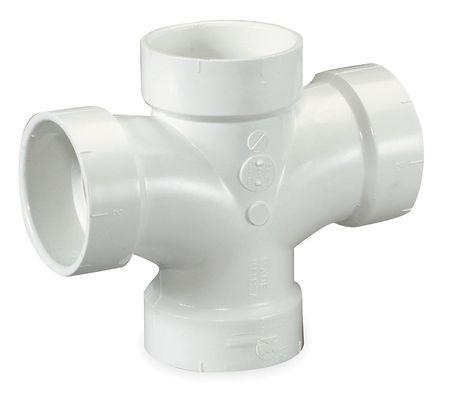 "1-1/2"" Hub PVC DWV Double Sanitary Tee"