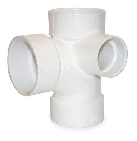 "3"" x 3"" x 3"" x 2"" Hub PVC DWV Sanitary Tee with Inlet"
