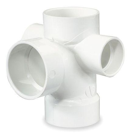 """3"""" x 3"""" x 3"""" x 1-1/2"""" x 1-1/2"""" Hub PVC Tee w/Inlets"""