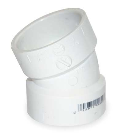 "1-1/2"" Hub PVC DWV 22-1/2 Degree Elbow"