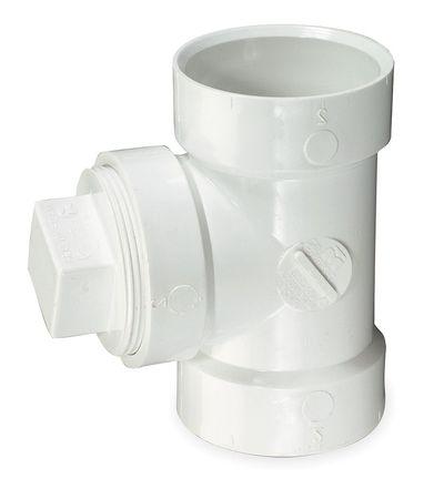 "4"" Hub x Hub x FNPT PVC DWV Cleanout Tee with Plug"