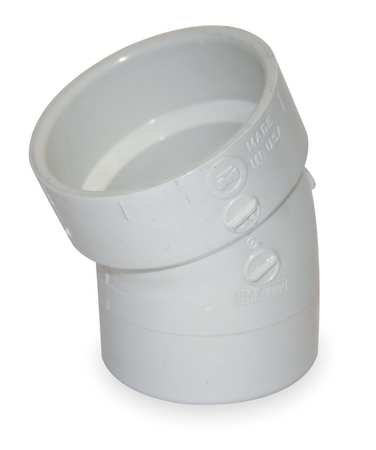 "4"" Hub x Spigot PVC DWV 22-1/2 Degree Elbow"