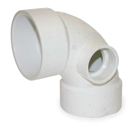 "3"" x 3"" x 1-1/2"" Hub PVC 90 Deg. Elbow Side Inlet"
