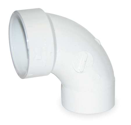 "3"" Spigot x Hub PVC 90 Deg. Long Sweep Street Elbow"