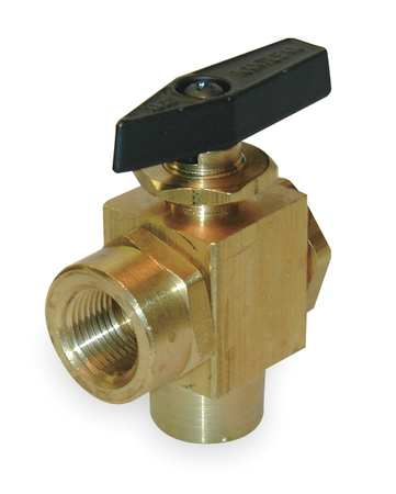 "3/8"" FNPT Brass Ball Valve Angle"