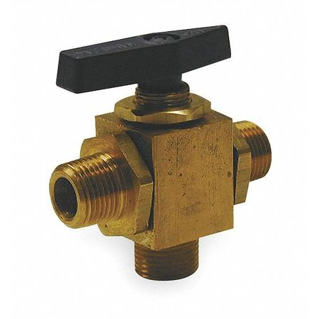 Brass Ball Valve, 3-Way, MNPT, 1/2 in