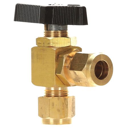 "3/8"" Compr Brass Mini Ball Valve Angle"