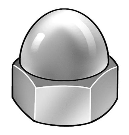 "1/4""-28 Grade 2 Low Carbon Steel Chrome Plated Finish Acorn Nuts,  5 pk."