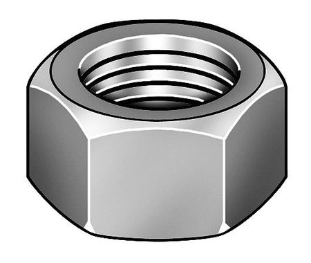 "1-1/4""-7 Grade C Plain Finish Carbon Steel Heavy Hex Nuts,  5 pk."