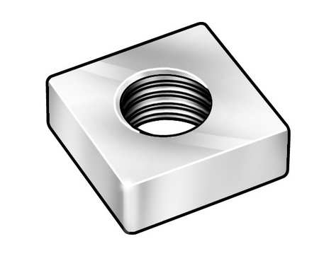 "3/8""-16 Steel Zinc Plated Finish Machine Screw Square Nut,  100 pk."