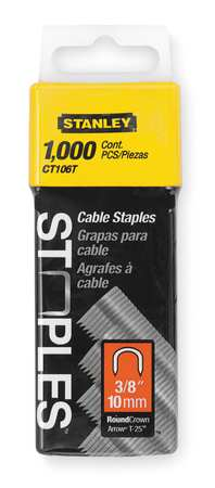 "5/16"" x 3/8"" Round Crown Cable Staples,  1000 pk."