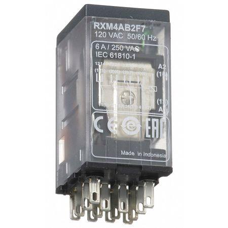 SCHNEIDER ELECTRIC RXM4AB2F7 Plug In Relay,14 Pins,Square,120VAC