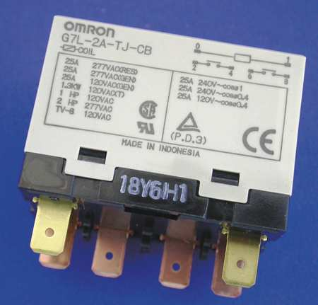 Enclosed Power Relay, 6 Pin, 24VAC, DPST-NO