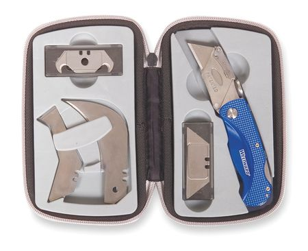 Folding Knife Kit, 3-1/2 in. L, Gray/Blue