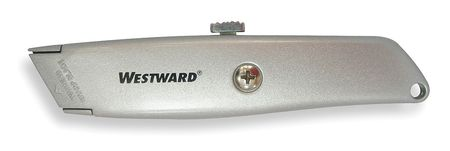 Retractable Utility Knife, 6 In., Gray