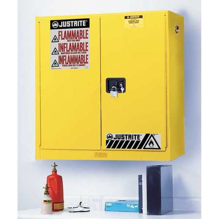 Flammable Safety Cabinet, 20 Gal., Yellow