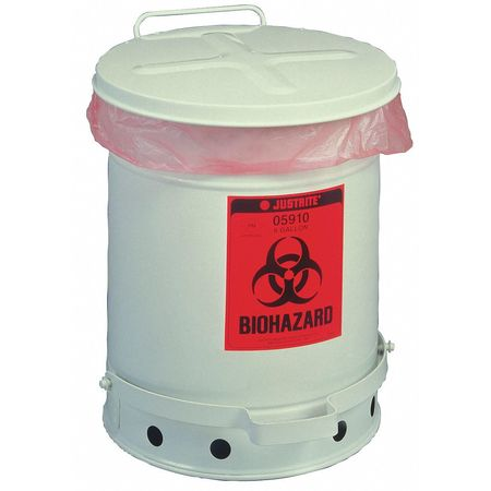 Biohazard Waste Can, 18-1/4 In. H
