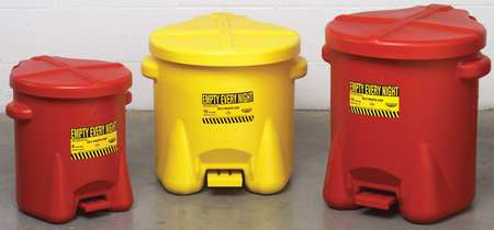 Oily Waste Can, 10 Gal., Poly, Yellow