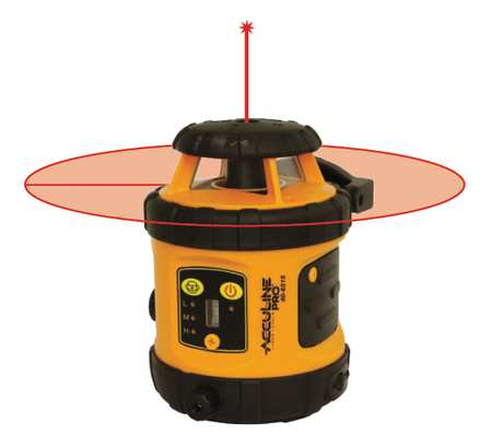 Rotary Laser Level, Int/Ext, Red, 800 ft.