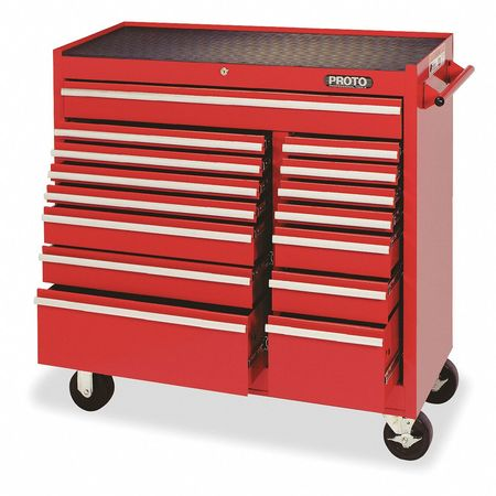 "41"" Rolling Cabinet,  1 Shelf,  15 Drawers,  Red"