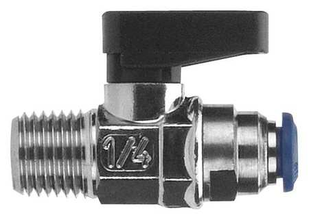 "1/4"" MNPT x Push Nickel Brass Mini Ball Valve Inline"