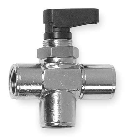 "1/8"" FNPT Nickel Brass Mini Ball Valve 3-Way"