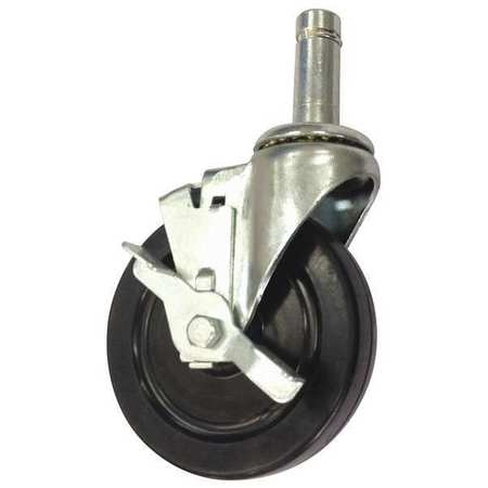 Swivel Stem Caster Brake, Rubber, 5 in, 280 lb, Blk
