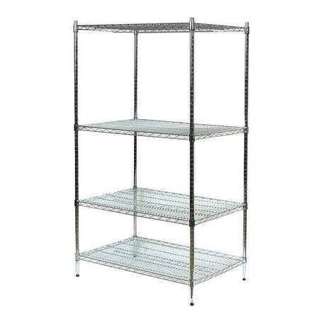 Shelving, Starter, H 85, W 60, D 36, Chrome