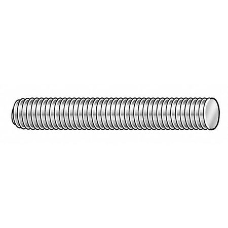 M6X1.0 x 50 mm Plain Low Carbon Steel Fully Threaded Studs,  25 pk.