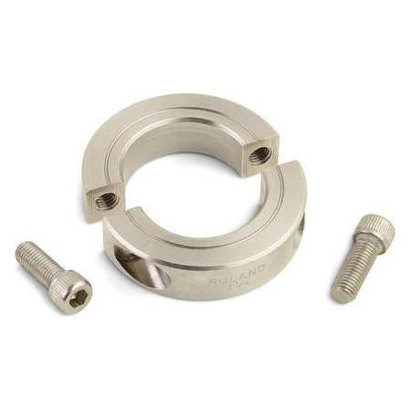 Shaft Collar, Clamp, 2Pc, 1/4 In, 303 SS