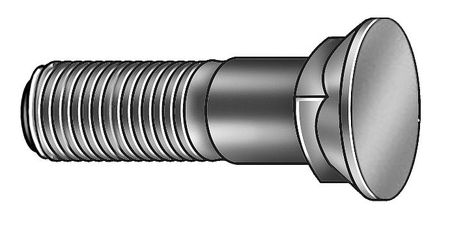Plow Bolt, Plain, 1-1/8-7x4, Gr 8