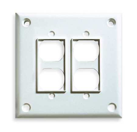 Security Duplex Wall Plate, 2 Gang, White