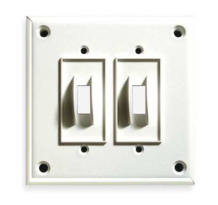 Security Toggle Switch Plate, 2Gang, White